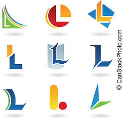 abstrakcyjny, l, litera, ikony