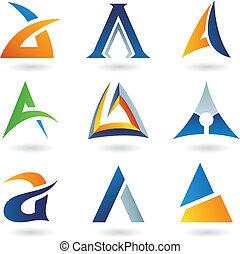 abstrakcyjny, litera, ikony