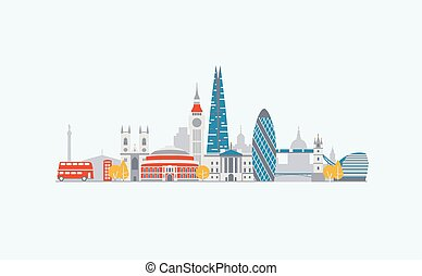 abstrakcyjny, londyn, sylwetka na tle nieba