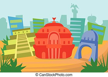 abstrakcyjny, meksyk, sylwetka na tle nieba, miasto, drapacz chmur, sylwetka
