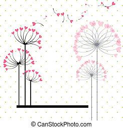 abstrakcyjny, miłość, kwiat, na, kropka polki, tło