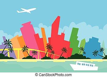 abstrakcyjny, miami skyline, miasto, drapacz chmur, sylwetka