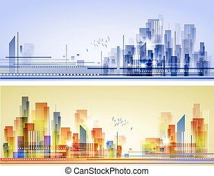 abstrakcyjny, miasto, krajobraz
