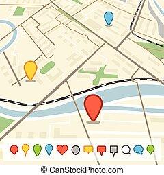 abstrakcyjny, miasto mapa, w, perspektywa, z, różny, kolor, szpilki