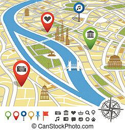 abstrakcyjny, miasto mapa, z, miejsca, od, zainteresowanie