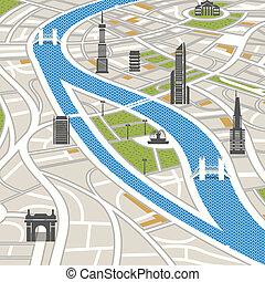 abstrakcyjny, miasto mapa, z, zabudowanie