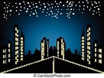 abstrakcyjny, miasto, noc, tło