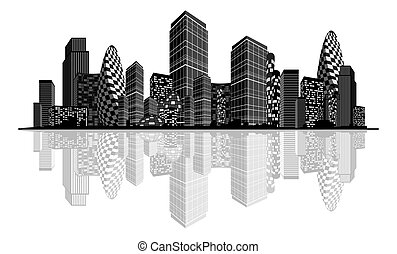 abstrakcyjny, miasto, sylwetka