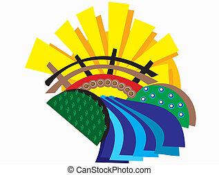 abstrakcyjny, most, i, pola