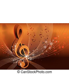 abstrakcyjny, muzyka, karta