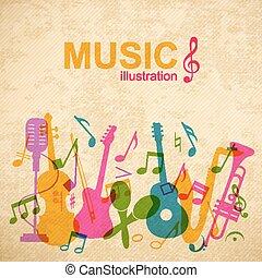 abstrakcyjny, muzyka, szablon