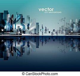 abstrakcyjny, noc, miasto, tło, sylwetka
