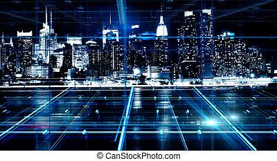 abstrakcyjny, noc, miasto, tło