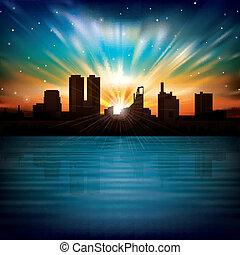 abstrakcyjny, noc, tło, z, sylwetka, od, miasto