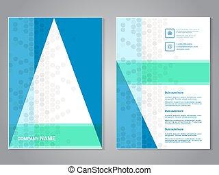 abstrakcyjny, nowoczesny, aspekt, projektować, układ, kropkowany, template., tło., zielony, biały triangel, błękitny, afisz, color., lotnik, a4, broszura, stosunek, size., szary, magazyn, wektor, cover.