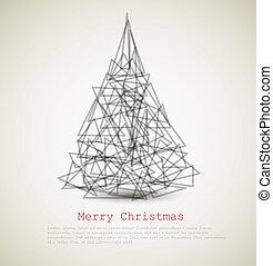 abstrakcyjny, nowoczesny, drzewo, wektor, kartka na boże narodzenie