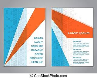 abstrakcyjny, nowoczesny, pomarańcza, aspekt, projektować, układ, kropkowany, template., tło., biały triangel, błękitny, afisz, color., lotnik, a4, broszura, stosunek, size., szary, magazyn, wektor, cover.