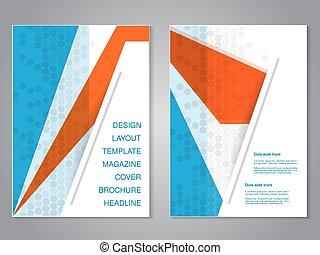 abstrakcyjny, nowoczesny, pomarańcza, aspekt, projektować, układ, kropkowany, template., tło., biały, błękitny, afisz, color., lotnik, a4, broszura, stosunek, size., szary, magazyn, wektor, cover.