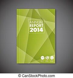 abstrakcyjny, nowoczesny, wektor, zielony, szablon, broszura, projektować