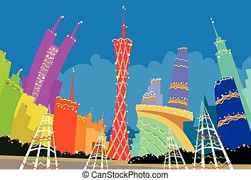 abstrakcyjny, nowy, sylwetka na tle nieba, boże narodzenie, porcelana, miasto, drapacz chmur, guangzhou, rok, sylwetka