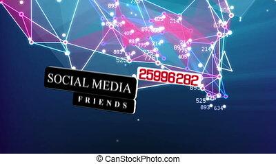 abstrakcyjny, ożywienie, od, towarzyski, media, sieć, pojęcie