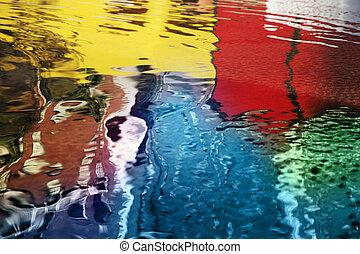 abstrakcyjny, odbicia, barwny
