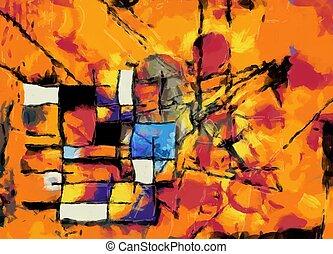 abstrakcyjny, painterly, barwny