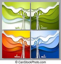 abstrakcyjny, papier, komplet, wektor, drzewa.