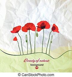 abstrakcyjny, papier, tło, z, kwiaty