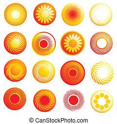 abstrakcyjny, połyskujący, słońce, ikony