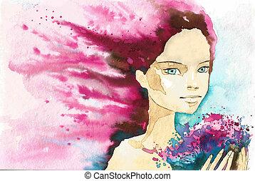 abstrakcyjny, portret, kobieta
