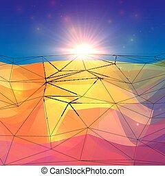 abstrakcyjny, powierzchnia, polygonal, światło słoneczne, horyzont, triangle