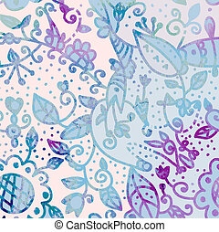 abstrakcyjny, -, ręka, akwarela, tło, kwiatowy, pociągnięty, karta