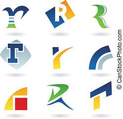 abstrakcyjny, r, litera, ikony