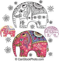 abstrakcyjny, słoń