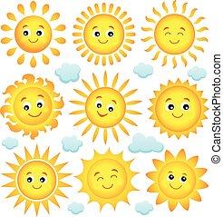 abstrakcyjny, słońce, temat, zbiór, 4