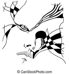 abstrakcyjny, samica, portret