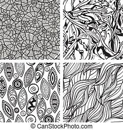 abstrakcyjny, seamless, ręka, wzory, wektor, monochromia, ...