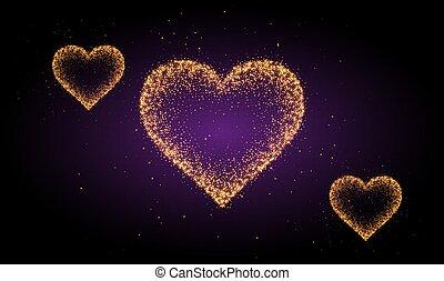 abstrakcyjny, serce, kryształ, złoty, tło
