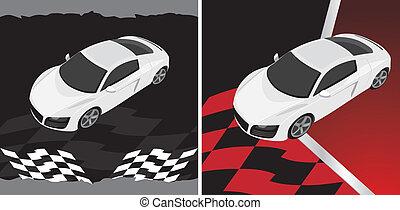 abstrakcyjny, sport, wóz., tło