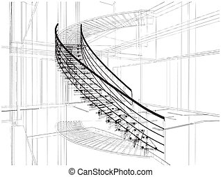 abstrakcyjny, staircases, spirala