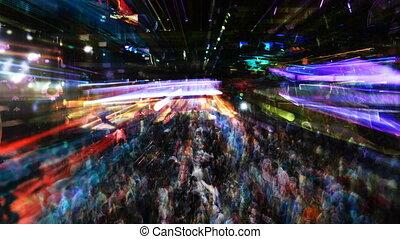 abstrakcyjny, strzał, tłum, nightclub