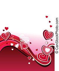 abstrakcyjny, stylizowany, falisty, tło, serca, czerwony