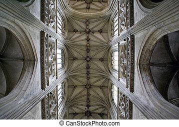 abstrakcyjny, sufit, ozdoby, kościół