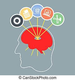 abstrakcyjny, sylwetka, od, niejaki, głowa człowieka, z, brain., infographics, des