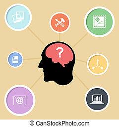 abstrakcyjny, sylwetka, od, niejaki, głowa człowieka, z, communications., baza, f