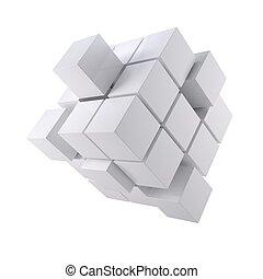 abstrakcyjny, sześcian, biały