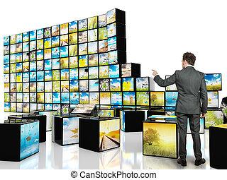abstrakcyjny, sześcian, telewizja