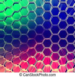 abstrakcyjny, sześcioboki, wielobarwny, tło, lustrzany