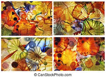 abstrakcyjny, szkło, sztuka, collage